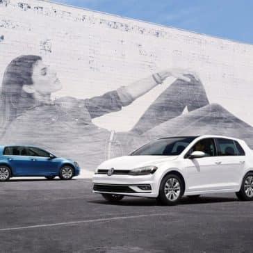 2018 Volkswagen Golf in front of mural
