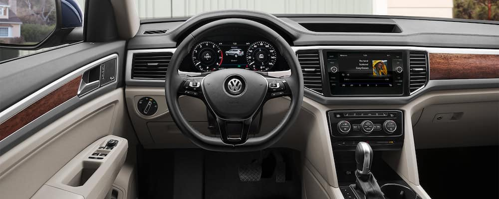 2019 Volkswagen Atlas dashboard and steering wheel view