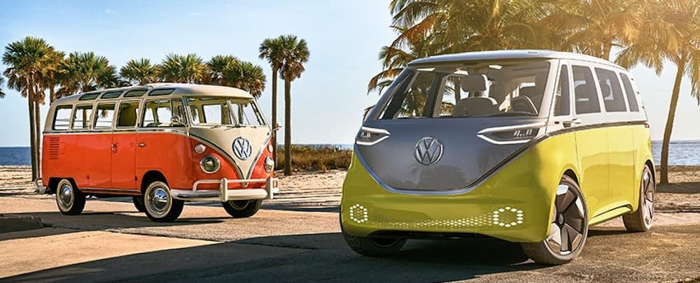 2022 Volkswagen Bus and vintage Volkswagen Bus
