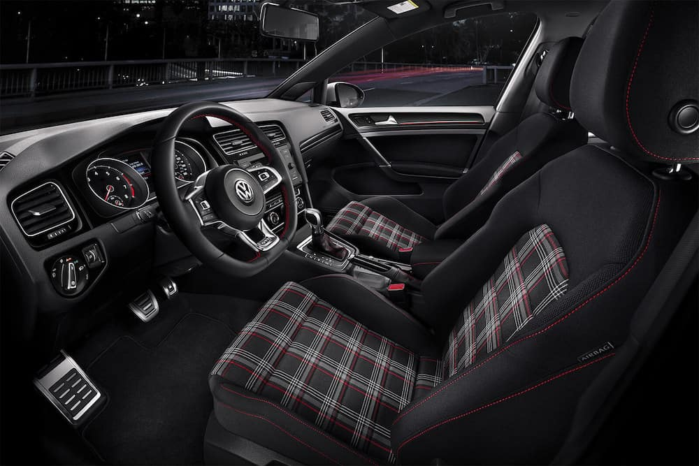 2019 Volkswagen Golf GTI interior with plaid seats