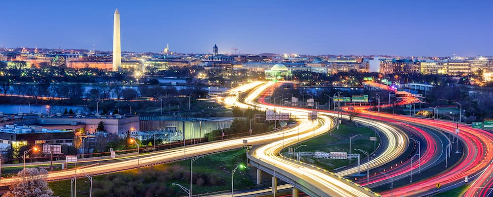 Exposure shot of Washington, DC in the evening, during the height of summer.