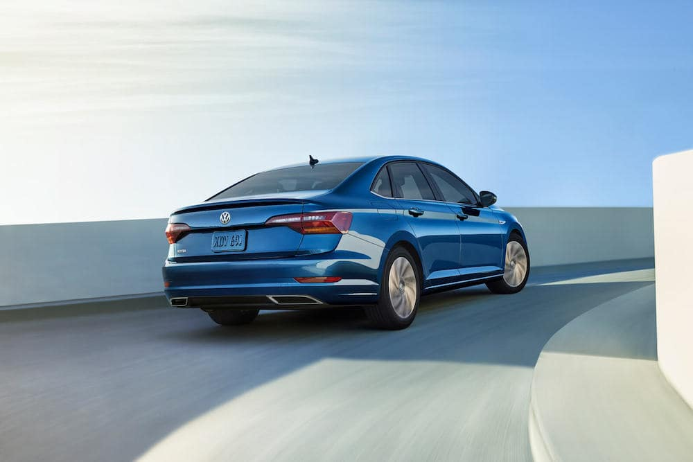 2019 Volkswagen Jetta in blue rear view