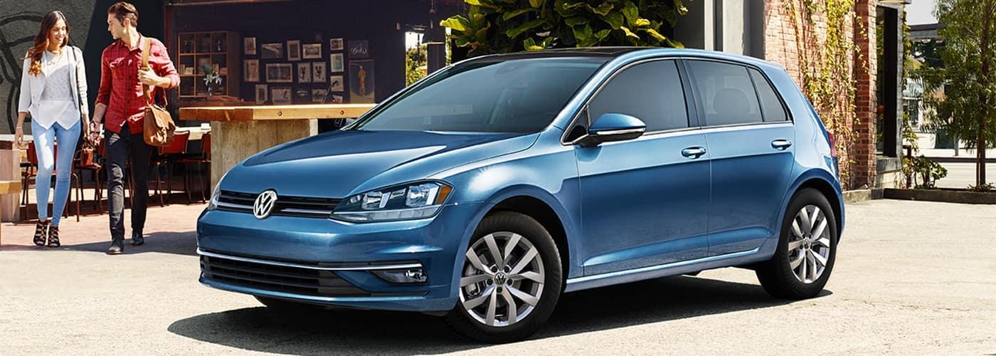 VW hatchback blue banner