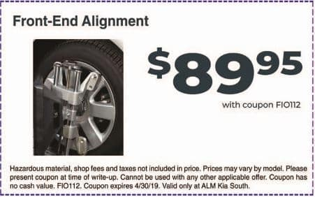 Front End Alignment Coupons >> Service Specials New Coupons Alm Kia South Near Morrow