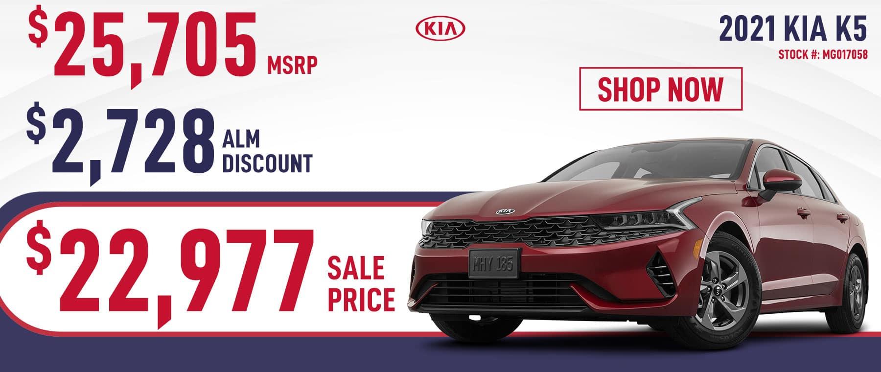 2021 Kia K5 Sale Price $22,977