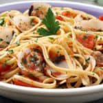 Bowl of seafood pasta with mussels