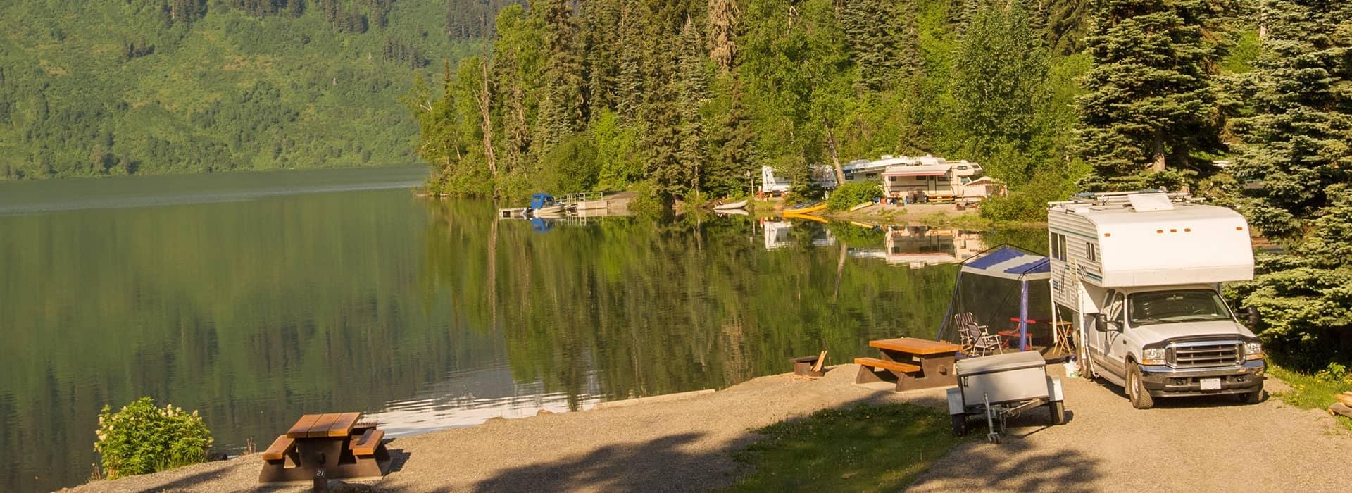 RV Campground on mountain lake