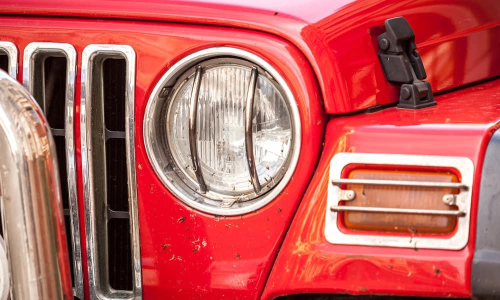 Red Jeep Wrangler Headlight