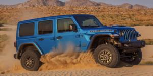 The Jeep Wrangler Rubicon 392 off-roading through the desert.