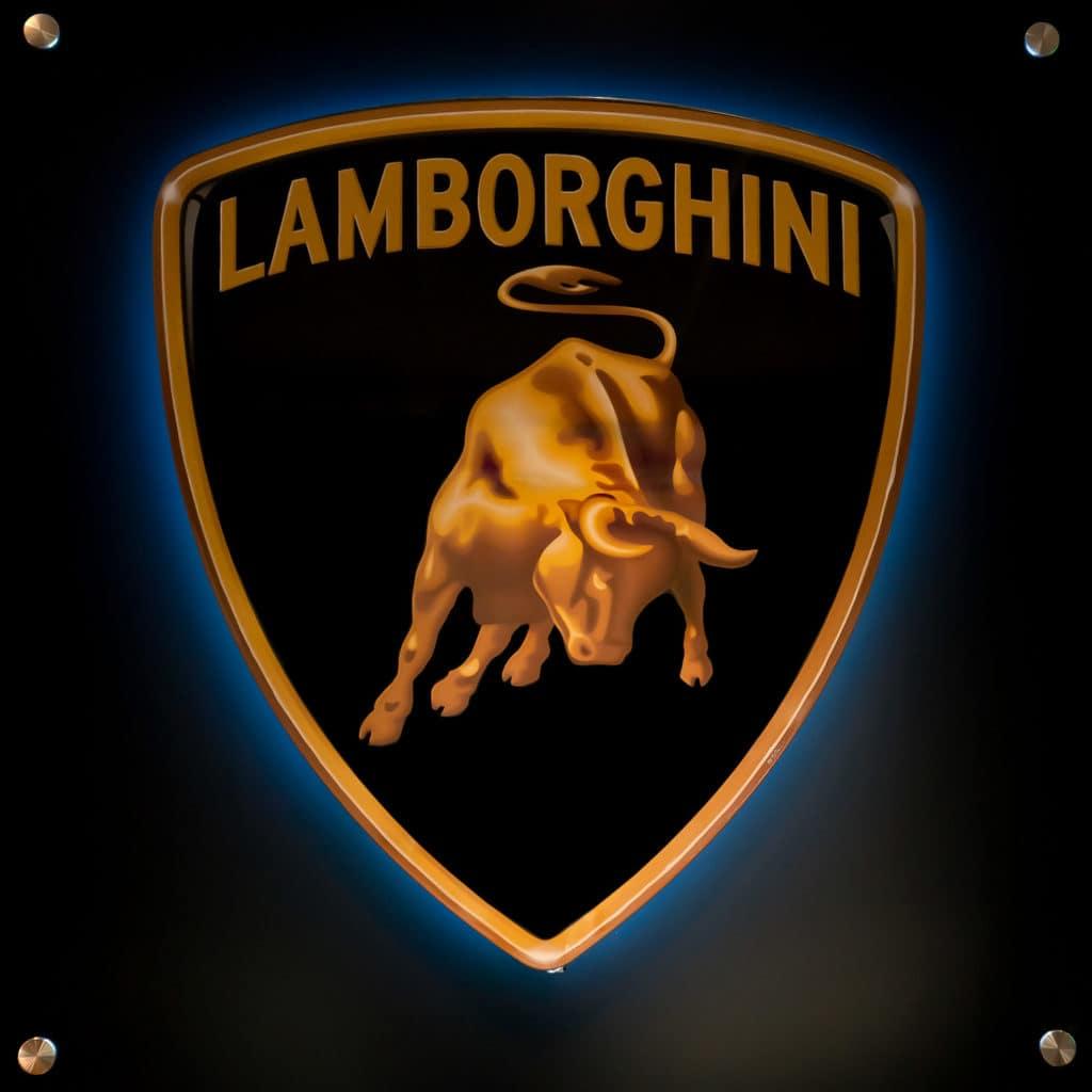 Butvila Fine Art - Backlit Lamborghini Wall Sign Available at August Motorcars