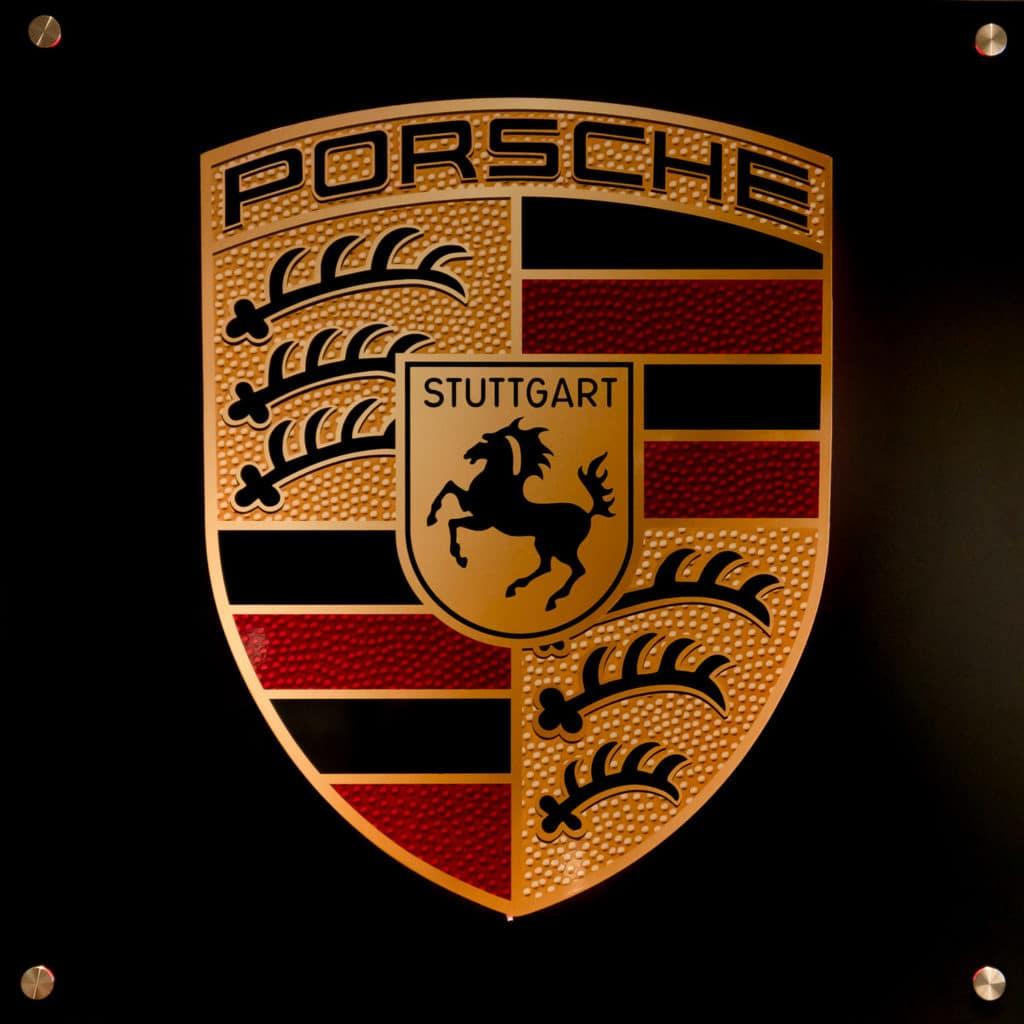 Butvila Fine Art - Backlit Porsche Wall Sign Available at August Motorcars