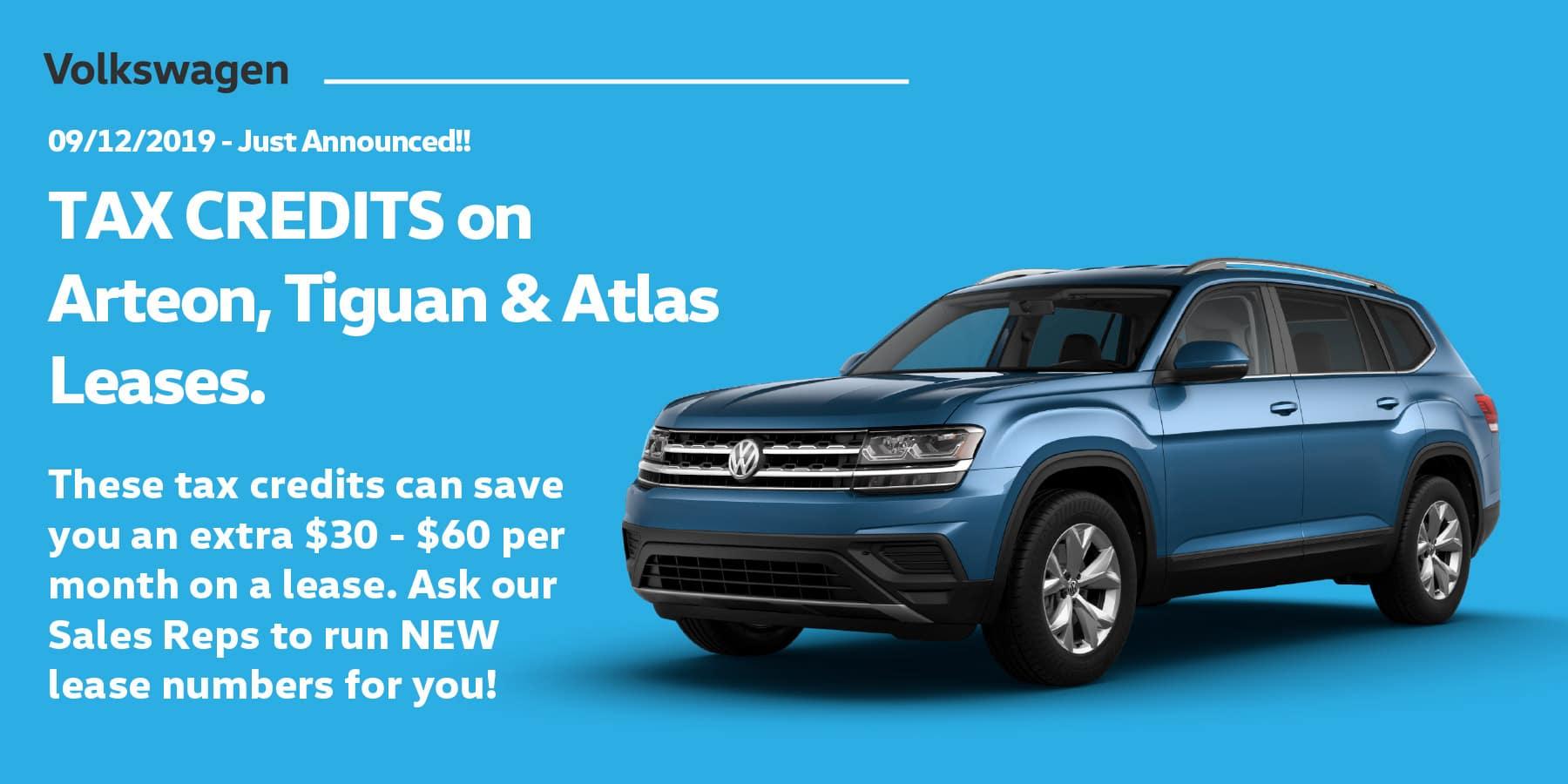 Autobahn Volkswagen | Arteon, Atlas & Tiguan Tax Credits Announced!