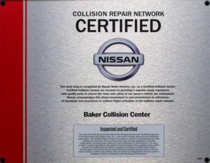 NISSAN Certified Collision Repair Network Certified