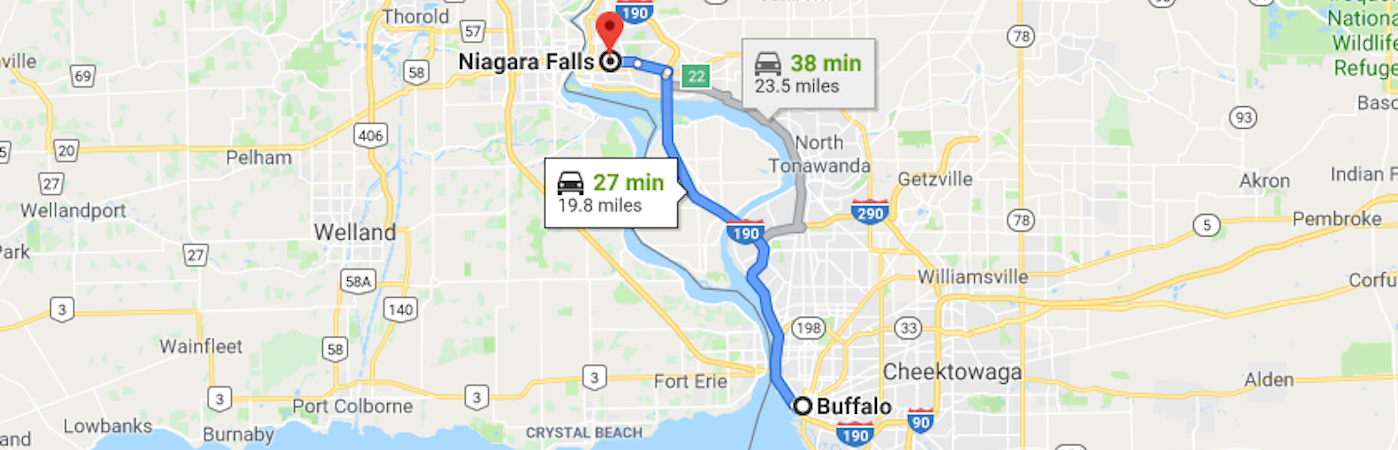 Driving route from Buffalo, NY to Niagara Falls in Google Maps