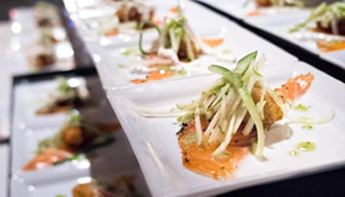 Numerous plated dishes waiting to be served at Bacchus