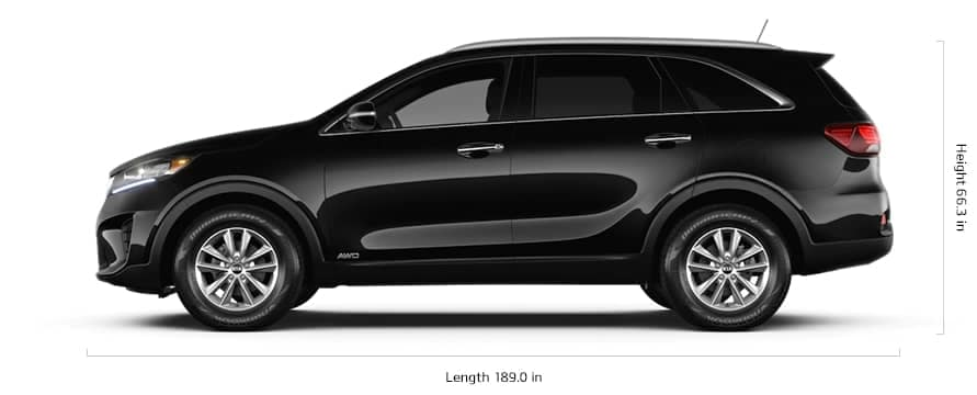 2020 Kia Sorento with length and height