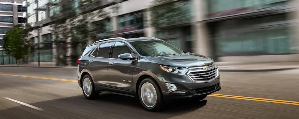 2019 Chevy Equinox in silver on city streets
