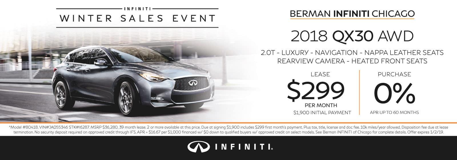 New 2018 INFINITI QX30 December offer at Berman INFINITI Chicago!