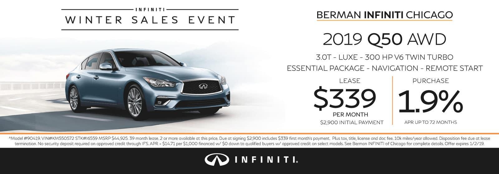 New 2019 INFINITI Q50 December offer at Berman INFINITI Chicago!