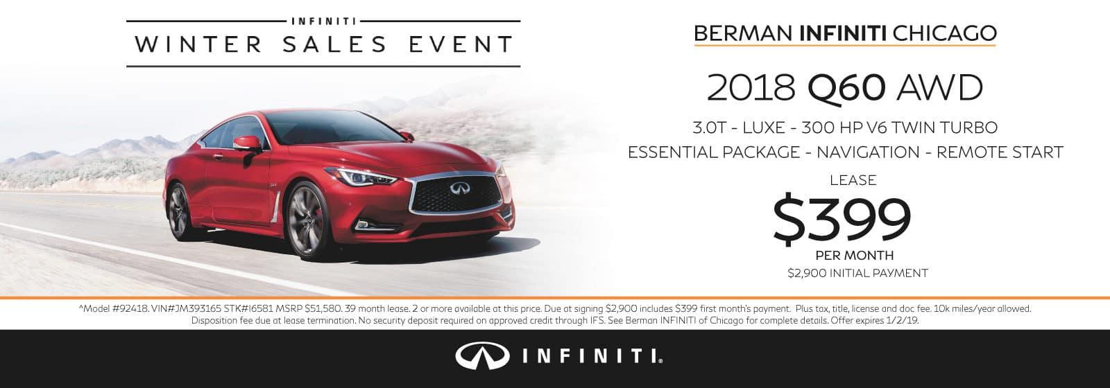 New 2018 INFINITI Q60 December offer at Berman INFINITI Chicago!