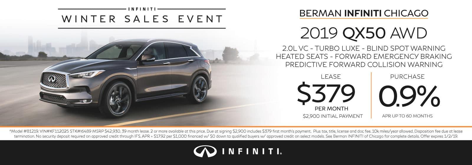 New 2019 INFINITI QX50 December offer at Berman INFINITI Chicago!
