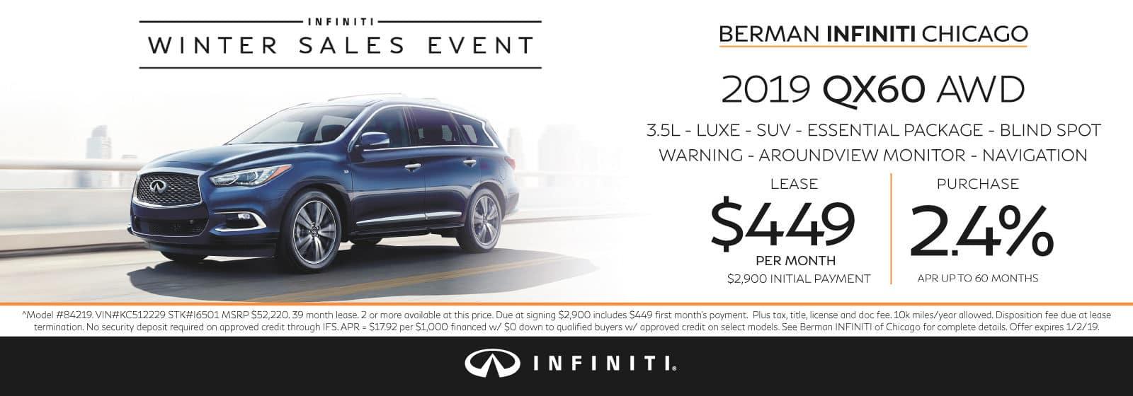 New 2019 INFINITI QX60 December offer at Berman INFINITI Chicago!