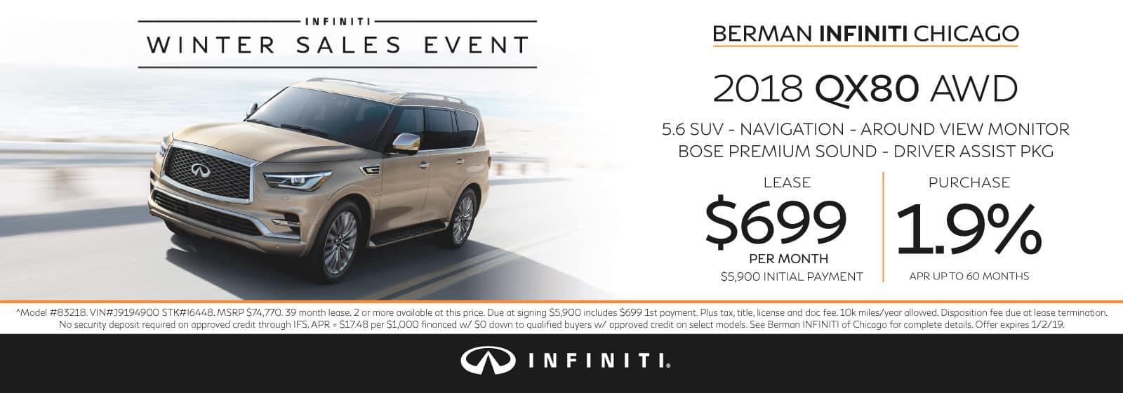 New 2018 INFINITI QX80 December offer at Berman INFINITI Chicago!