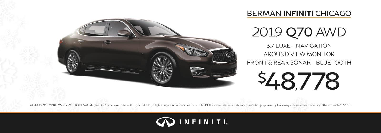 New 2019 INFINITI Q70 January offer at Berman INFINITI Chicago!