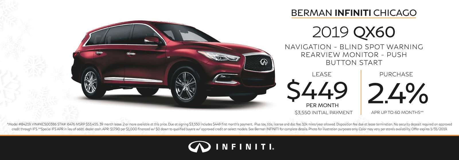 New 2019 INFINITI QX60 January offer at Berman INFINITI Chicago!