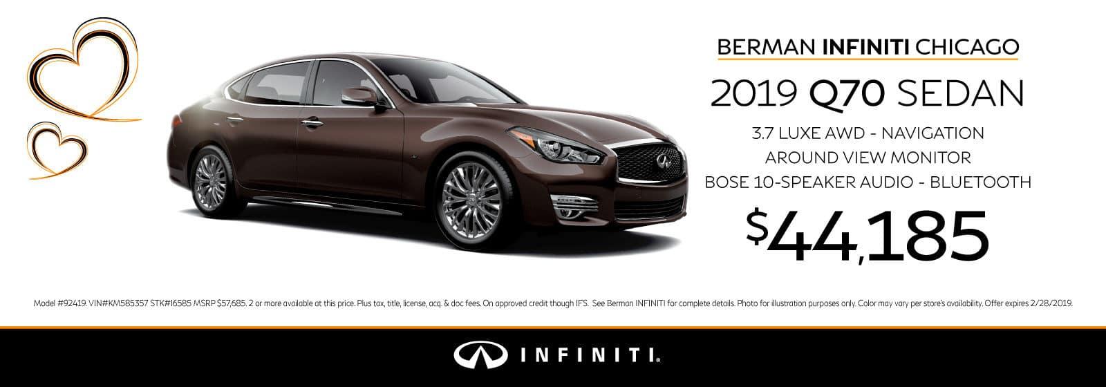 New 2019 INFINITI Q70 February offer at Berman INFINITI Chicago!