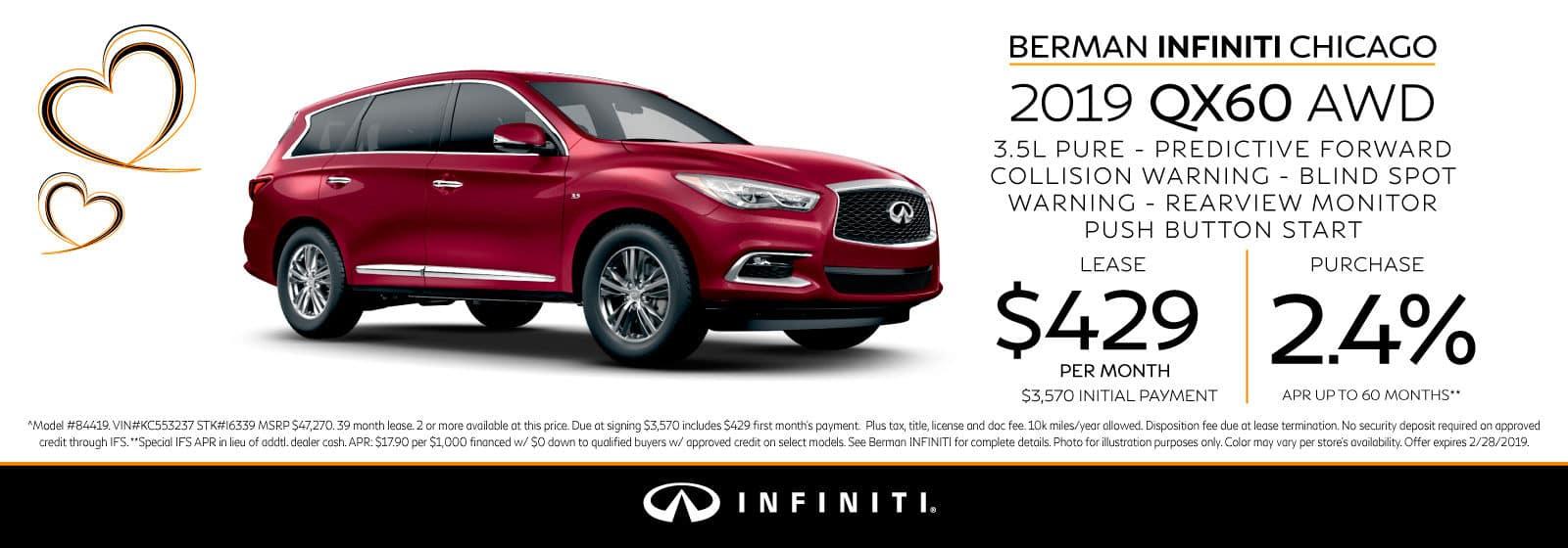 New 2019 INFINITI QX60 February offer at Berman INFINITI Chicago!