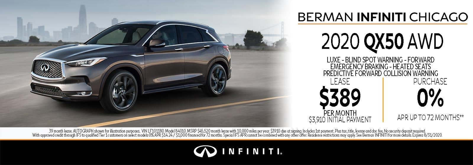 New 2020 INFINITI QX50 August offer at Berman INFINITI Chicago!