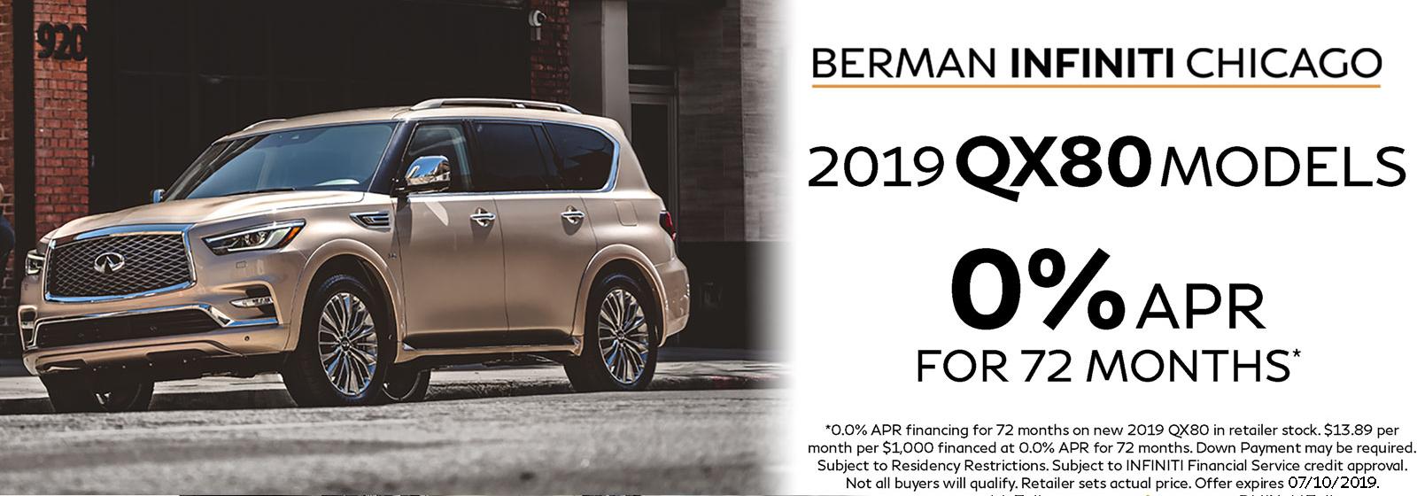 New 2019 INFINITI QX80 July offer at Berman INFINITI Chicago!