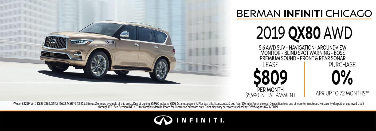 ew 2019 INFINITI QX80 June offer at Berman INFINITI Chicago!