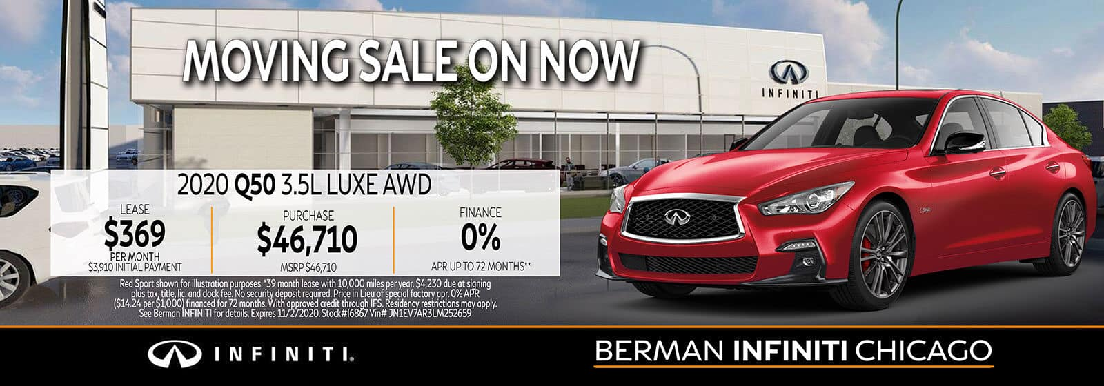 New 2020 INFINITI Q50 October offer at Berman INFINITI Chicago!