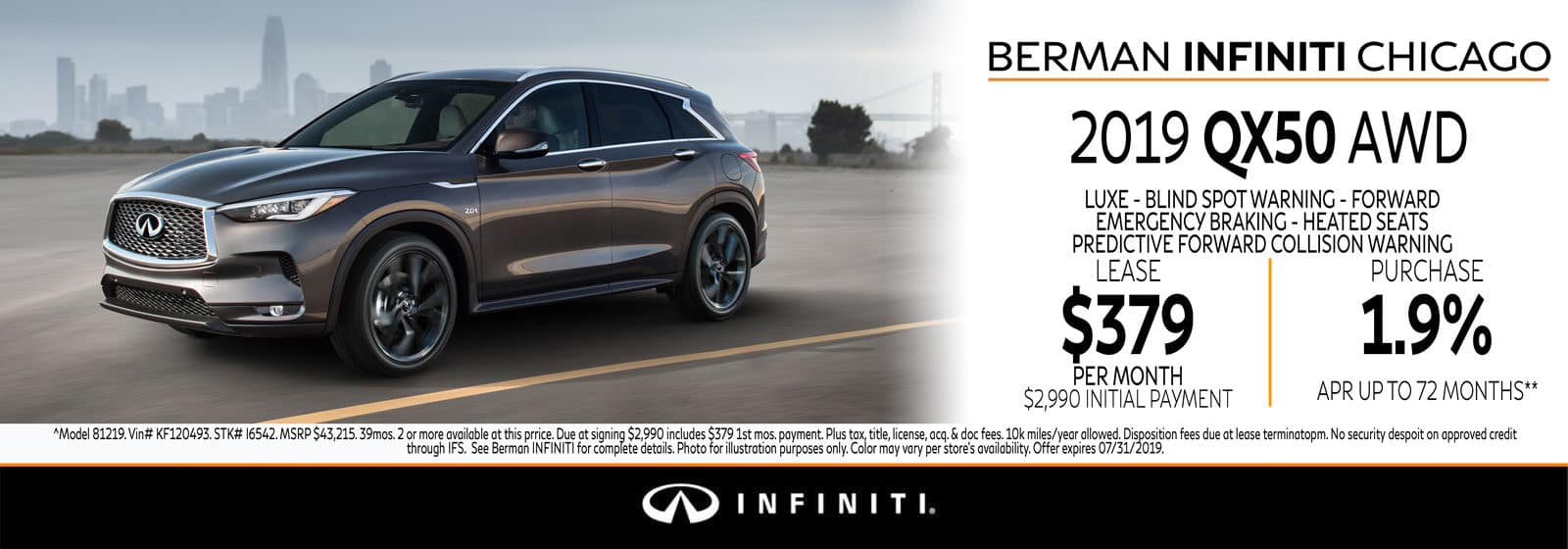 New 2019 INFINITI QX50 July offer at Berman INFINITI Chicago!