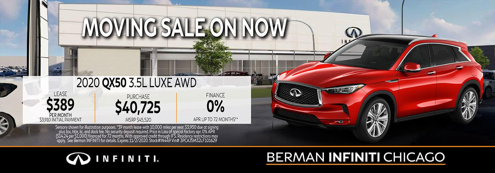 New 2020 INFINITI QX50 October offer at Berman INFINITI Chicago!