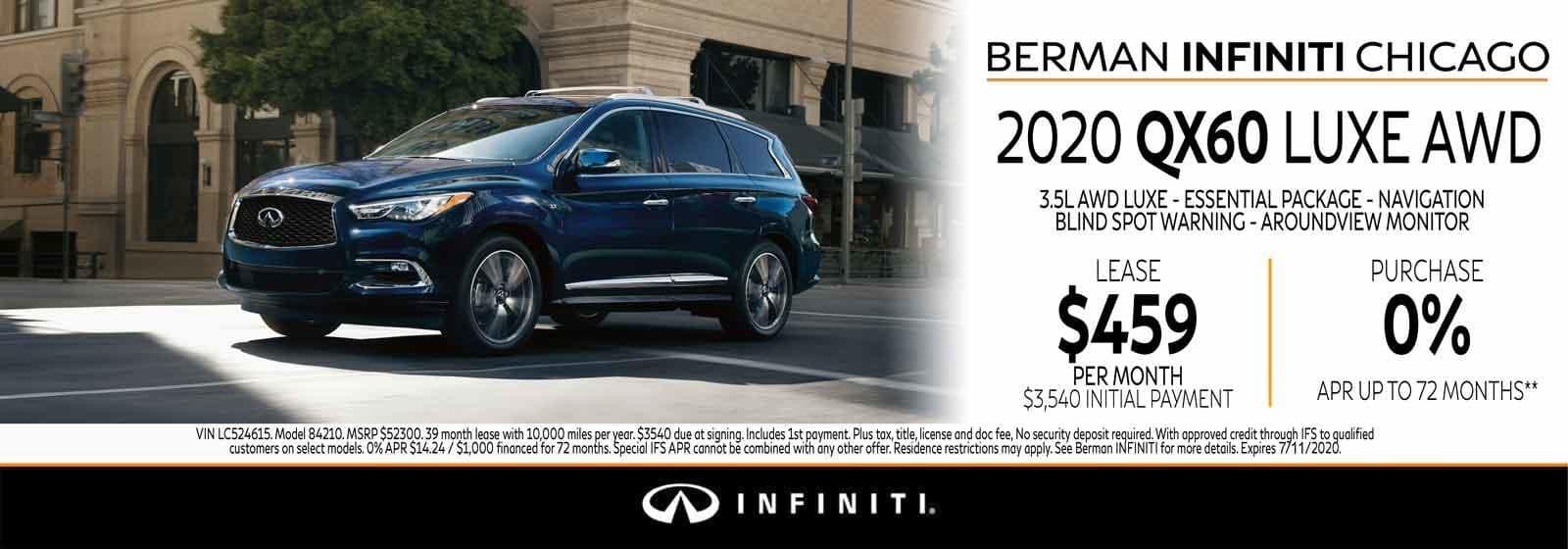 New 2020 INFINITI QX60 July offer at Berman INFINITI Chicago!