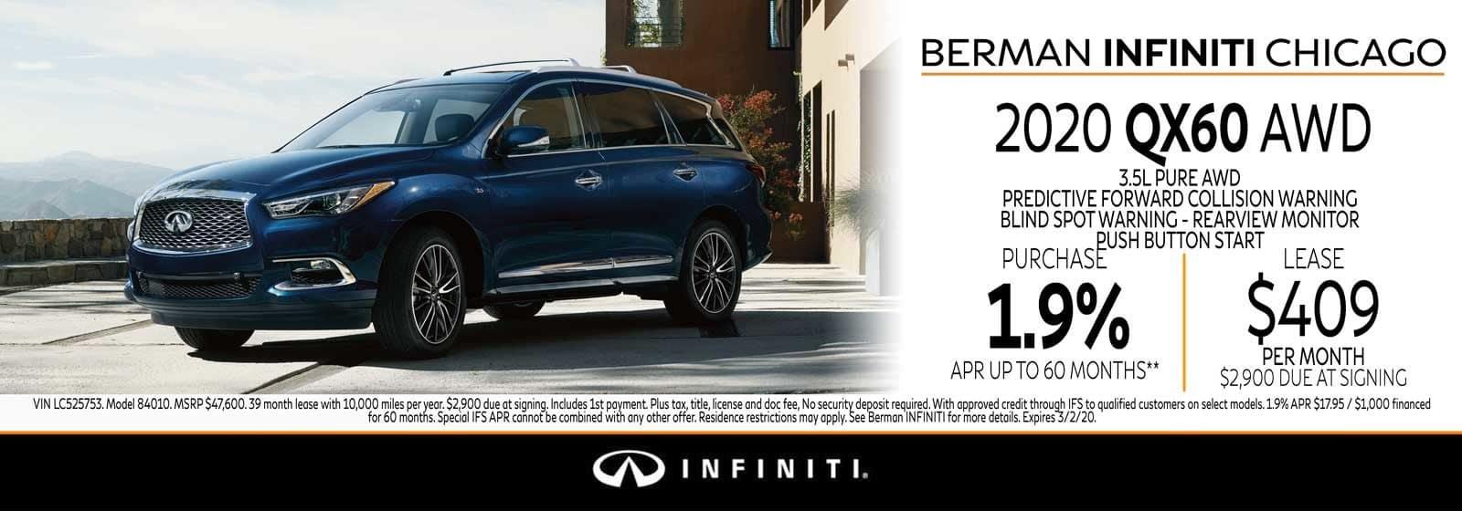 New 2020 INFINITI QX60 February offer at Berman INFINITI Chicago!