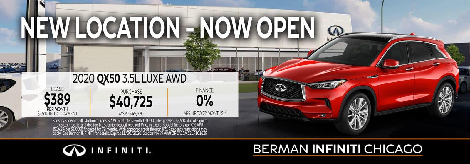 New 2020 INFINITI QX50 November offer at Berman INFINITI Chicago!