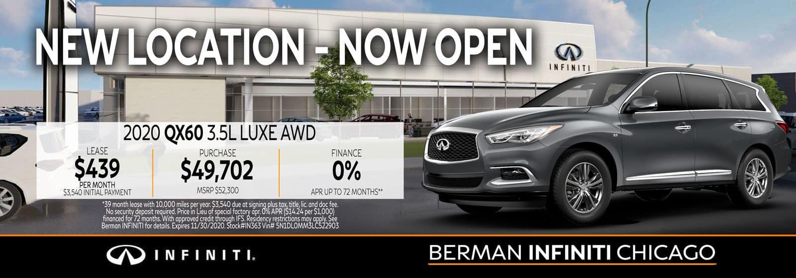 New 2020 INFINITI QX60 November offer at Berman INFINITI Chicago!