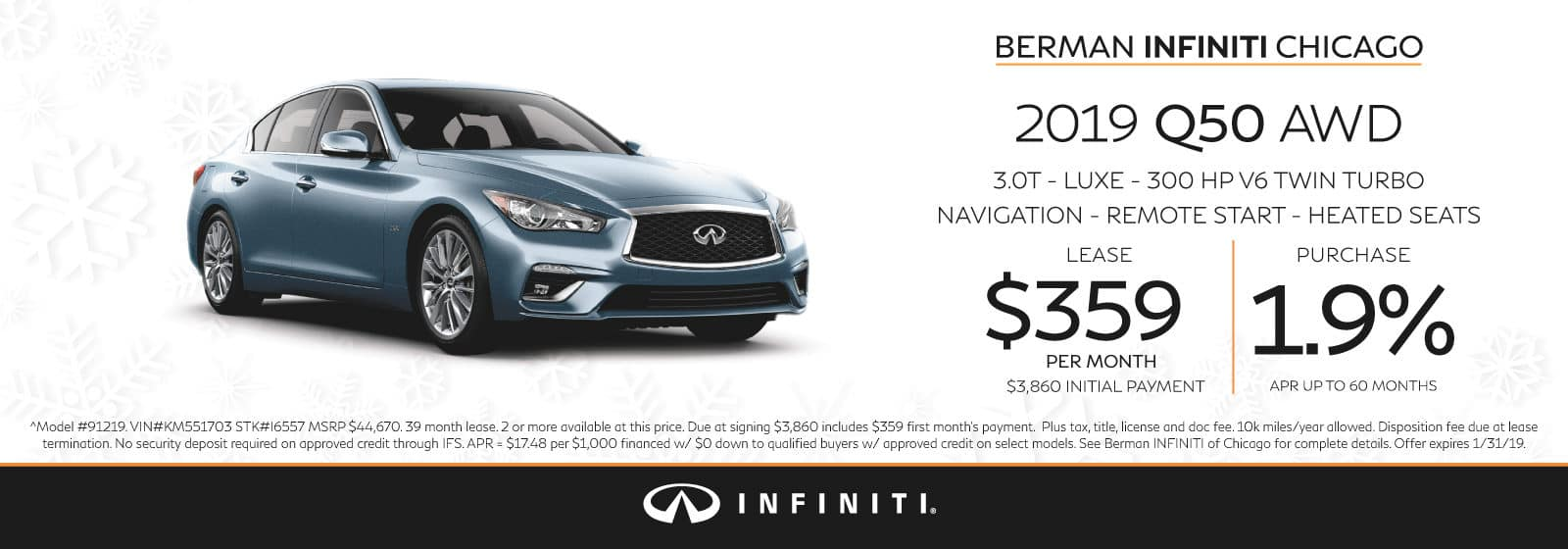 New 2019 INFINITI Q50 January offer at Berman INFINITI Chicago!