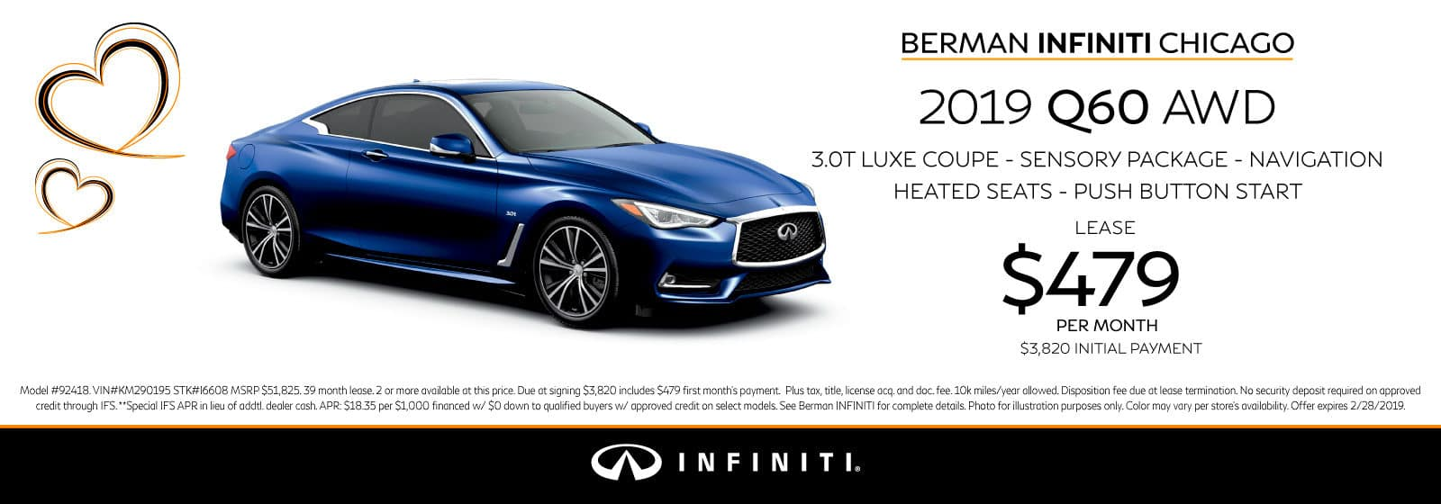 New 2018 INFINITI Q60 February offer at Berman INFINITI Chicago!