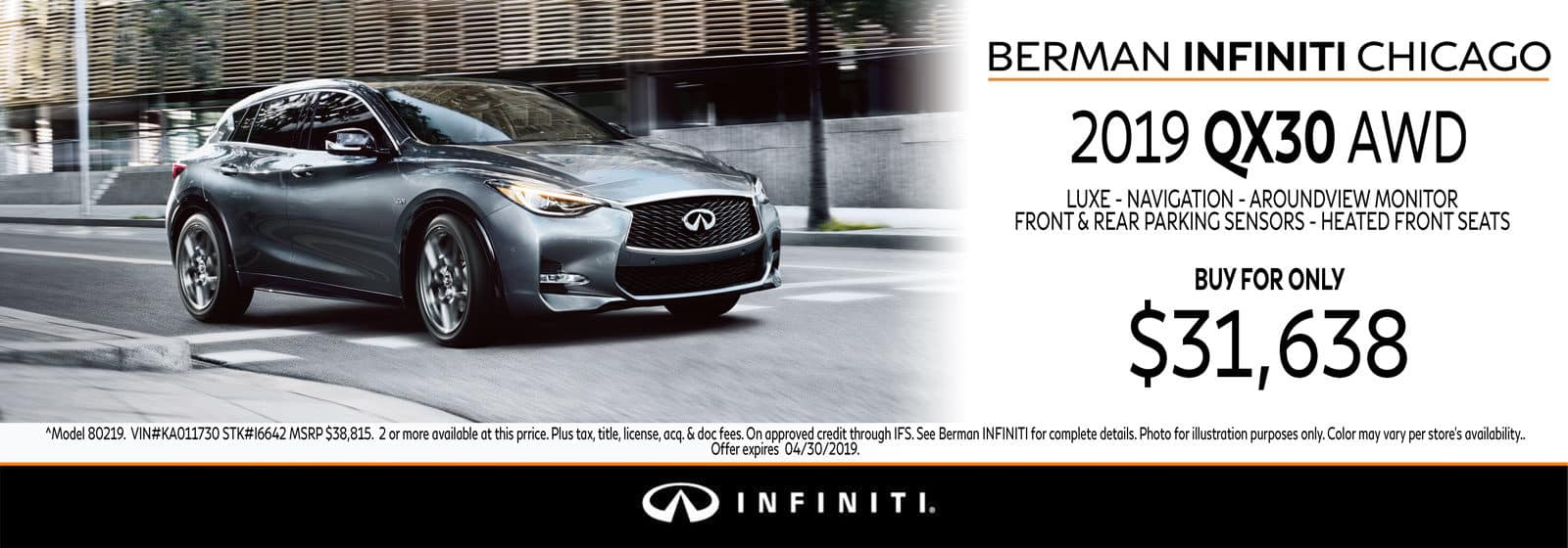 New 2019 INFINITI QX30 April offer at Berman INFINITI Chicago!