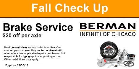 Fall Check-Up: Brake Service Special: $20 off per axle