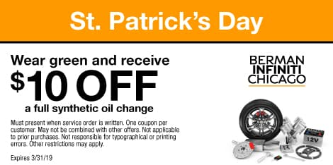 St Patrick's Day: Wear green and receive $10 OFF a full synthetic oil change