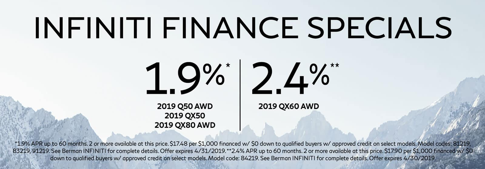 Finance Specials at Berman INFINITI Chicago