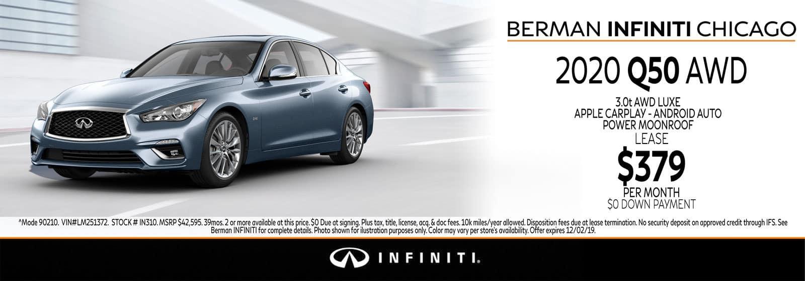 New 2020 INFINITI Q50 November offer at Berman INFINITI Chicago!