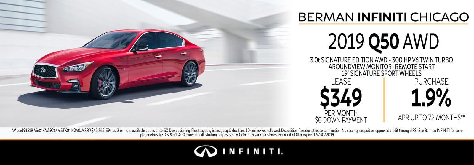 New 2019 INFINITI Q50 September offer at Berman INFINITI Chicago!
