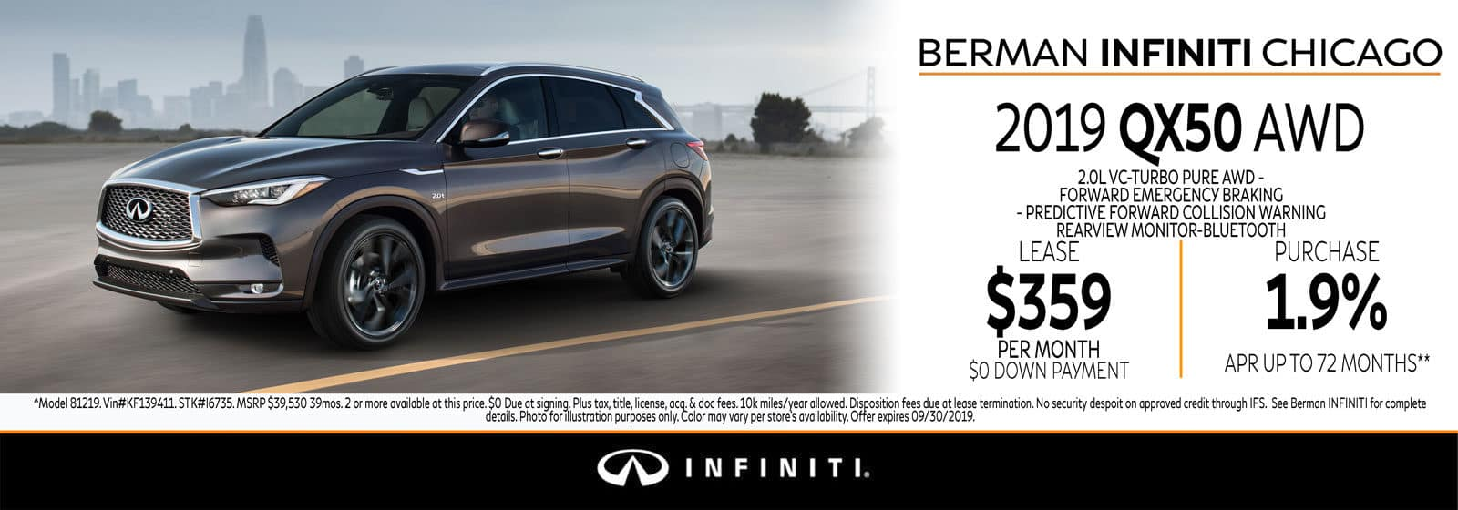 New 2019 INFINITI QX50 September offer at Berman INFINITI Chicago!